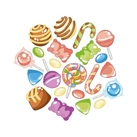 Sweets and candy. Lollipops, jelly bears, dragees, chocolates. Isolated vector objects on a white background.