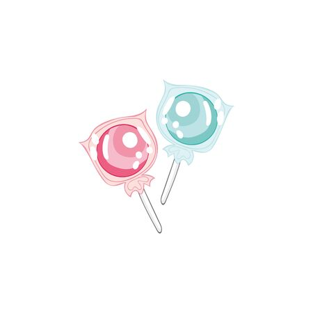 Lollipops. Isolated vector objects on a white background. Cartoon food.