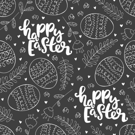 Happy easter. Lettering. Easter eggs. Seamless vector pattern (background).  イラスト・ベクター素材