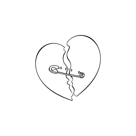 Broken heart. Pin. Isolated vector object.