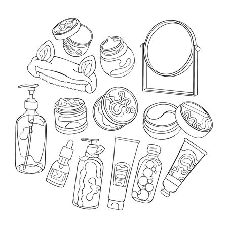 Cream, balm, shampoo, essence. Mirror Set. Isolated object. Black and white.