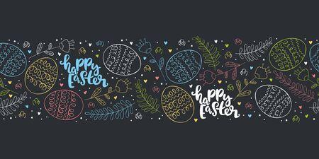 Happy easter. Lettering. Easter eggs. Seamless horizontal pattern (border, frame).