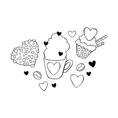 Hot chocolate cup. Cupcake and chocolate chip cookies. Hearts. Stickers Isolated vector objects.