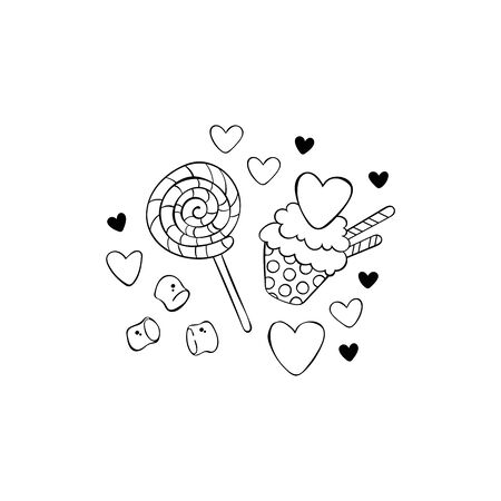 Chocolate muffin. Marshmallows. Lollipop. Hearts. Stickers Isolated vector objects. Imagens - 143100400