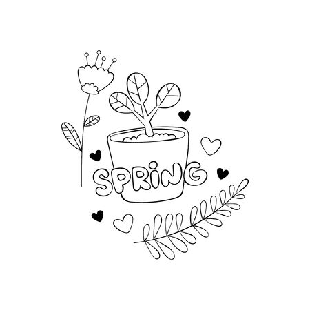 Spring Plant in pot. Garden. Flowers and twigs with leaves. Hearts. Isolated vector object on white background. Black and white drawing. Sticker  イラスト・ベクター素材