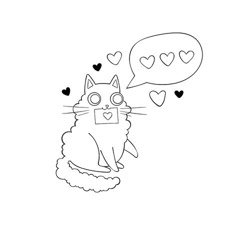 Cute cat. Love message. Hearts. Stickers Isolated vector objects.  イラスト・ベクター素材