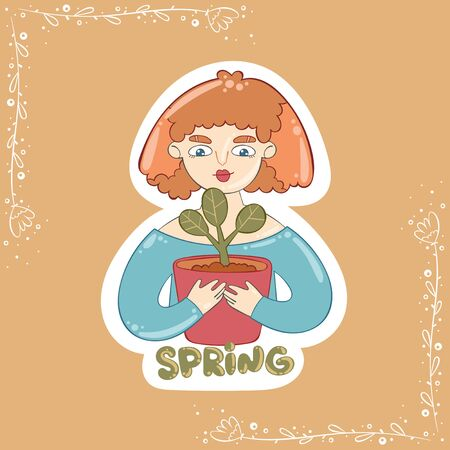 Spring Lettering. Girl and plant. Flower bore in a pot. Cartoon people. Beautiful woman. Isolated vector object.