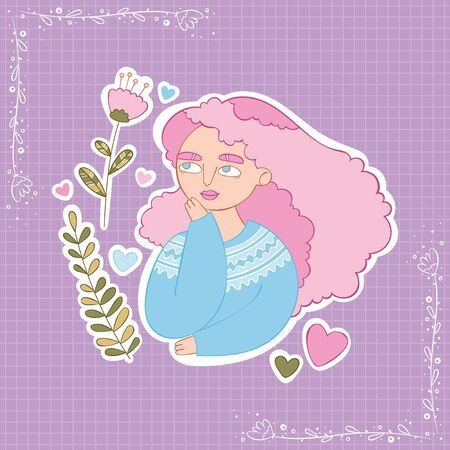 Girl with pink hair. Flowers and leaves. Heart Stickers Checkered background. Isolated vector objects.  イラスト・ベクター素材
