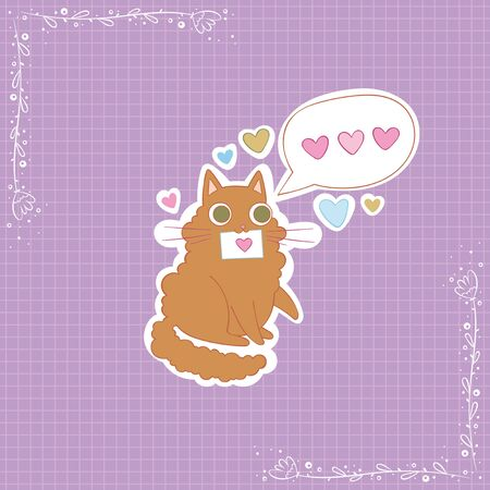 Cute cat. Love message. Hearts. Stickers Checkered background. Isolated vector objects.