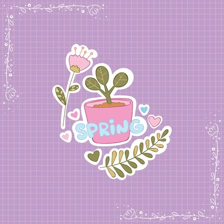 Spring Lettering. Potted plant. Flowers and leaves. Stickers Checkered background. Isolated vector objects.  イラスト・ベクター素材