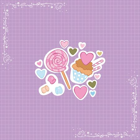 Chocolate muffin. Marshmallows. Lollipop. Hearts. Stickers Checkered background. Isolated vector objects.