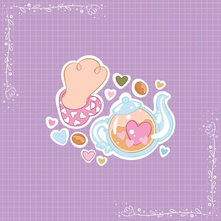 Hot drink mug. Teapot. Tea cup. Hearts. Stickers Checkered background. Isolated vector objects.