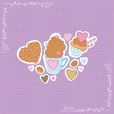 Hot chocolate cup. Cupcake and chocolate chip cookies. Hearts. Stickers Checkered background. Isolated vector objects.  イラスト・ベクター素材