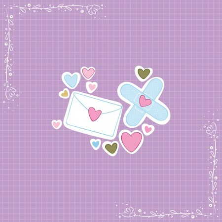 Love message. Medical plaster. Hearts. Stickers Checkered background. Isolated vector objects.