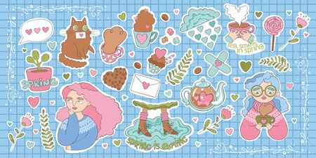 Set of stickers about spring. Beautiful girls, cute cat, hot drinks and sweets. Lettering. Checkered background. Isolated vector objects.