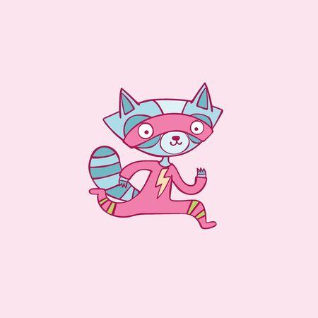 Cute superhero. Little raccoon. Cartoon animal character. Isolated vector object.
