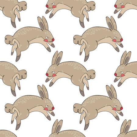Cute hares. Rabbits. Seamless vector pattern (background). Cartoon animal print.