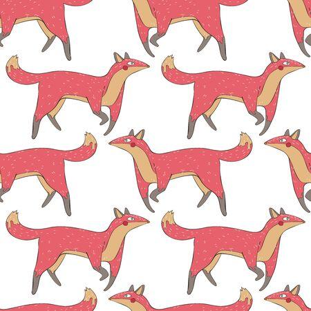 Cute fox. Seamless vector pattern (background). Cartoon animal print.