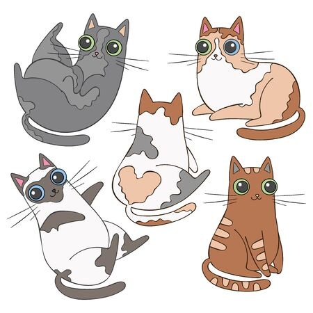 Cute cartoon cat. Set animals. Isolated vector object.