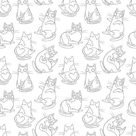 Cute cartoon cat. Seamless vector pattern (background). Animals print.