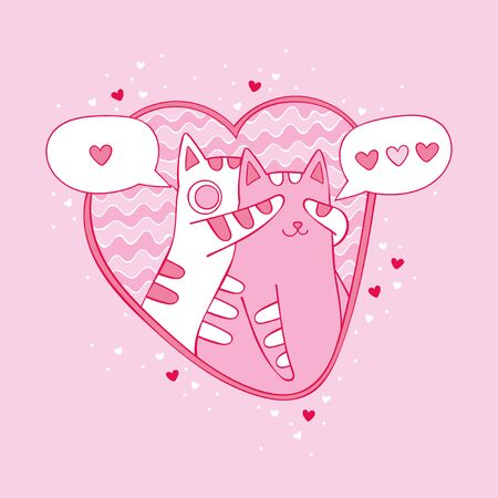 Two cats in love. Hearts. Love Isolated vector object. Cartoon cute animals.  イラスト・ベクター素材
