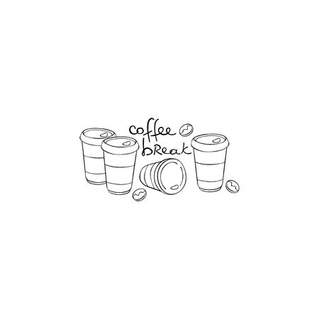 Coffee break. Lettering. Coffee paper cups. Coffee beans. Isolated vector object on a white background.