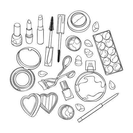 Cosmetics, makeup products. Mascara, eye shadow, powder, lipstick. Mirror and perfume. Set. Isolated vector objects on white background. Black and white drawing.