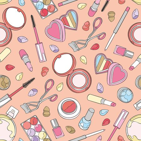 Cosmetics, makeup products. Mascara, eye shadow, powder, lipstick. Mirror and perfume. Seamless vector pattern (background).