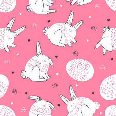 Cute hares. Easter eggs. Seamless vector pattern (background).