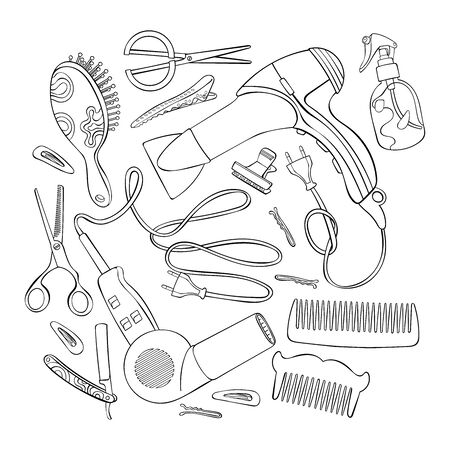 Hairdressing set: hair dryer, comb, straight razor, scissors, hair clips. Isolated vector objects on white background.  イラスト・ベクター素材