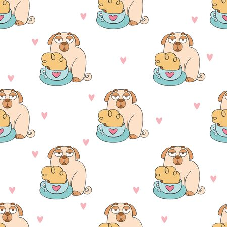 Coffee cup. Tea mug. Cute cartoon pug. Pug puppy. Cartoon animal. Seamless vector pattern (background). Funny print. Ilustração