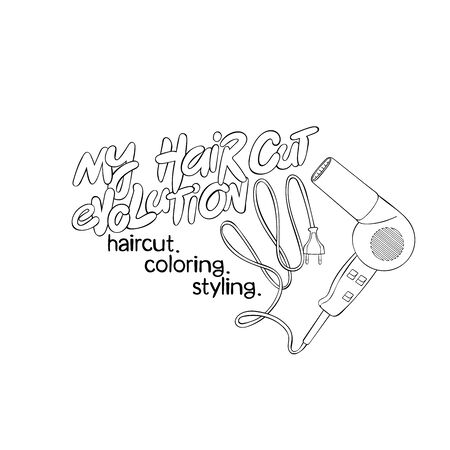 My haircut evolution. Haircut. Coloring. Styling. Lettering. Hair dryer. Isolated vector object on white background.