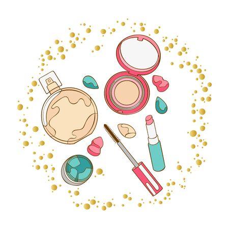 Cosmetics. Mascara, eye shadow, lipstick, powder, perfume, eau de toilette, perfume. Round golden frame. Art. Isolated vector objects on a white background. Vettoriali