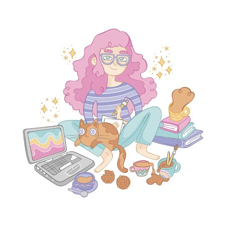 Girl with glasses draws. Cute cat pet. Notebook, books, coffee cup, chocolate chip cookies. Cartoon people. Illustration. Isolated vector object on white background.