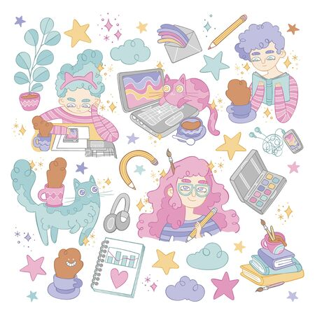 Set. Girls. Cute cats. Notebooks, books, hot drinks and stars. Isolated vector objects on white background.