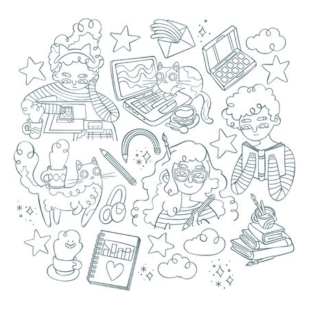 Set. Girls. Lovely cats. Notebooks, books, hot drinks and stars. Isolated vector objects on a white background. Ilustração