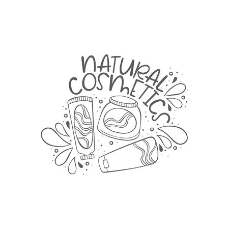 Natural cosmetics. Cosmetic Creams and Lettering. Isolated vector object on white background.
