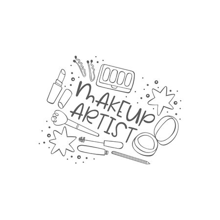 Makeup artist. Cosmetics. Powder, eyeshadow, lipstick, mascara. Lettering. Isolated vector object on white background.