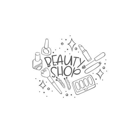 Beauty shop. Cosmetics. Powder, eyeshadow, lipstick, mascara. Lettering. Isolated vector object on white background. Ilustração