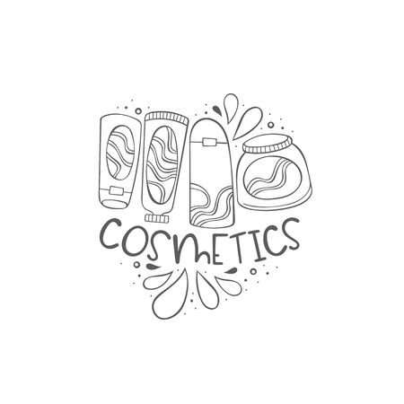Cosmetics. Cosmetics. Creams and mask face.  Lettering. Isolated vector object on white background.