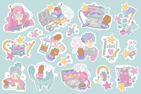 Set of stickers. Beautiful girls. Cute cat. Books, laptop, paints and pencils. Hot drinks: coffee cup, tea mug. Lettering. Stars.
