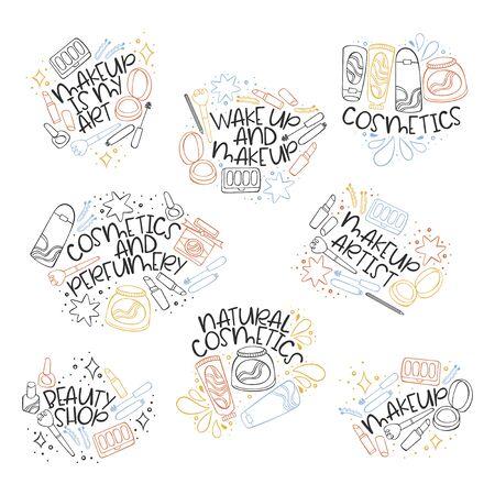 Beauty set stickers. Cosmetics and perfumery. Cosmetics. Creams. Lipstick, mascara, nail polish, lipstick. Perfume. Lettering. Isolated vector object on white background.