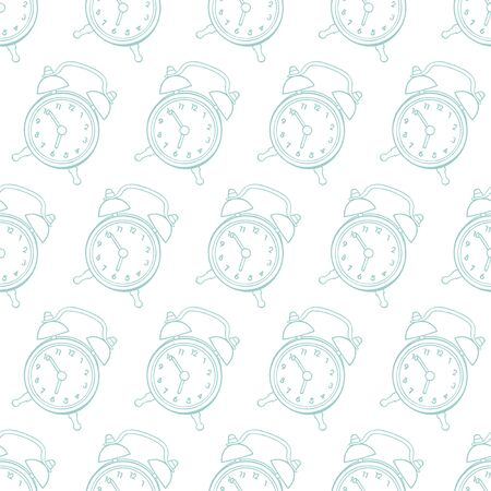 Clock - alarm clock. Seamless vector pattern (background). Cartoon print.