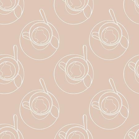 Hot drinks. Tea cup and coffee mug. Seamless vector pattern (background). Cartoon print.