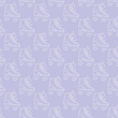 Vintage roller skates. Seamless vector pattern (background). Cartoon print. Retro.