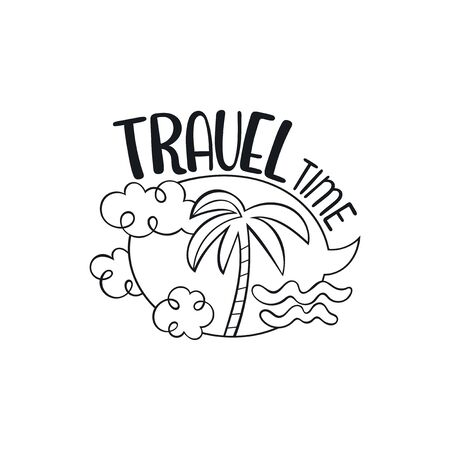 Travel time. Lettering. Palm tree, waves and clouds. Isolated vector object on white background.