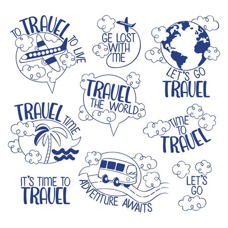 Travel stickers set. Bus rides on road. Plane flies in sky. Isolated vector object on white background. Lettering set.