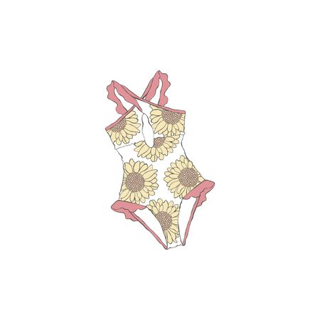 Swimsuit. Summer fashion clothes. Flower sunflower. Isolated vector object on a white background. Ilustração