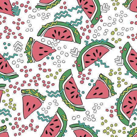 Watermelon. Doodles. Summer drawing. Fruits. Colored drops. Seamless vector pattern (background). Cartoon print. Ilustração