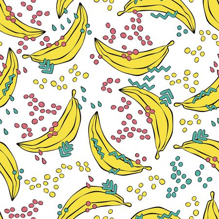 Bananas Doodles. Summer drawing. Fruits. Colored drops. Seamless vector pattern (background). Cartoon print. Ilustração